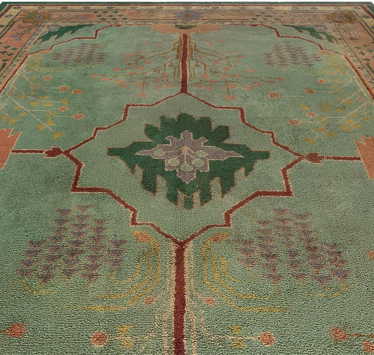 Arts and Crafts Arts & Crafts Beige, Green, Purple and Red Handmade Wool Rug by Gavin Morton For Sale