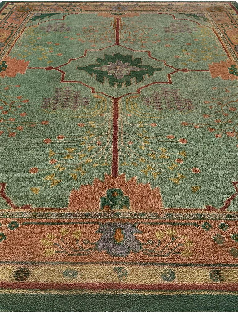 British Arts & Crafts Beige, Green, Purple and Red Handmade Wool Rug by Gavin Morton For Sale