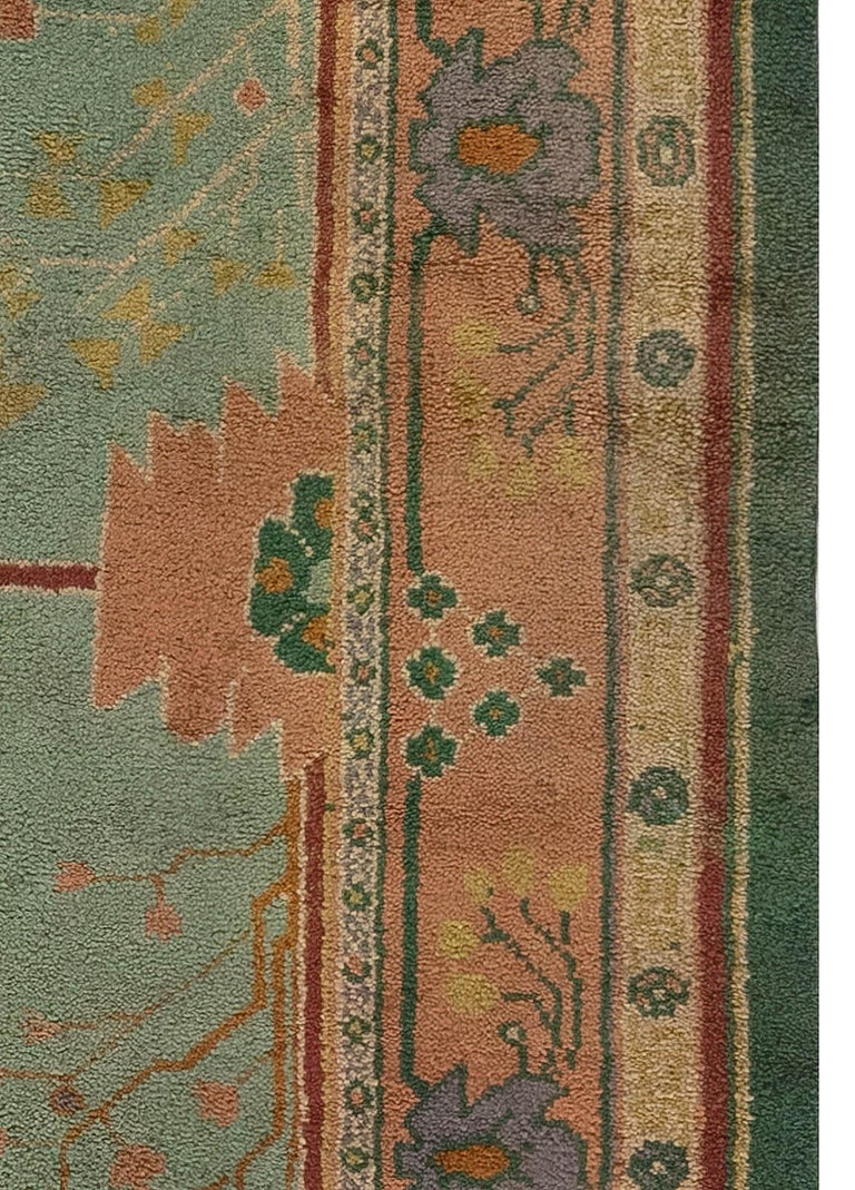 Hand-Woven Arts & Crafts Beige, Green, Purple and Red Handmade Wool Rug by Gavin Morton For Sale