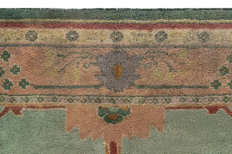 Arts & Crafts Beige, Green, Purple and Red Handmade Wool Rug by Gavin Morton In Good Condition For Sale In New York, NY