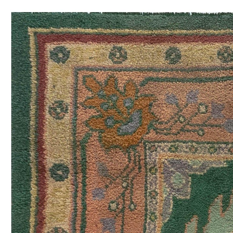 20th Century Arts & Crafts Beige, Green, Purple and Red Handmade Wool Rug by Gavin Morton For Sale