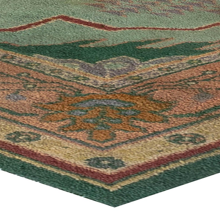 Arts & Crafts Beige, Green, Purple and Red Handmade Wool Rug by Gavin Morton For Sale 1