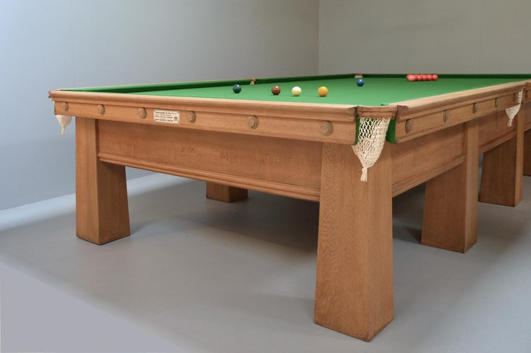 English Arts and Crafts Billiard Snooker Pool Table oak Glasgow School Design 1910 For Sale