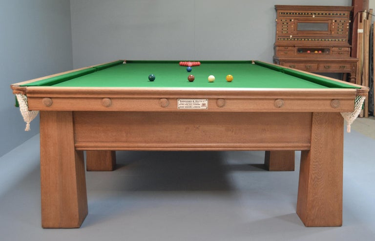 Arts and Crafts Billiard Snooker Pool Table oak Glasgow School Design 1910 In Good Condition For Sale In Chilcompton, Radstock