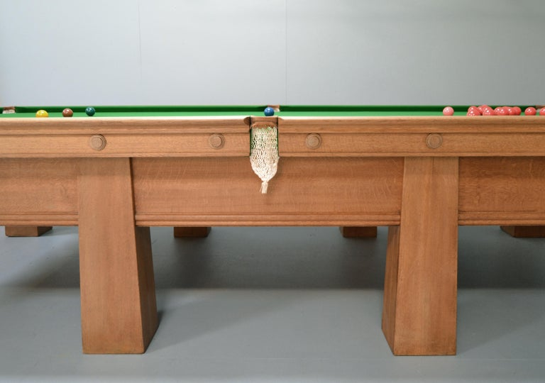 20th Century Arts and Crafts Billiard Snooker Pool Table oak Glasgow School Design 1910 For Sale