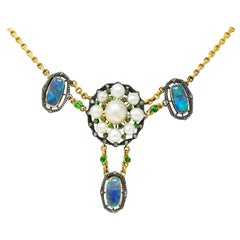 Arts & Crafts Black Opal Demantoid Garnet Pearl Diamond 14 Karat Gold Necklace