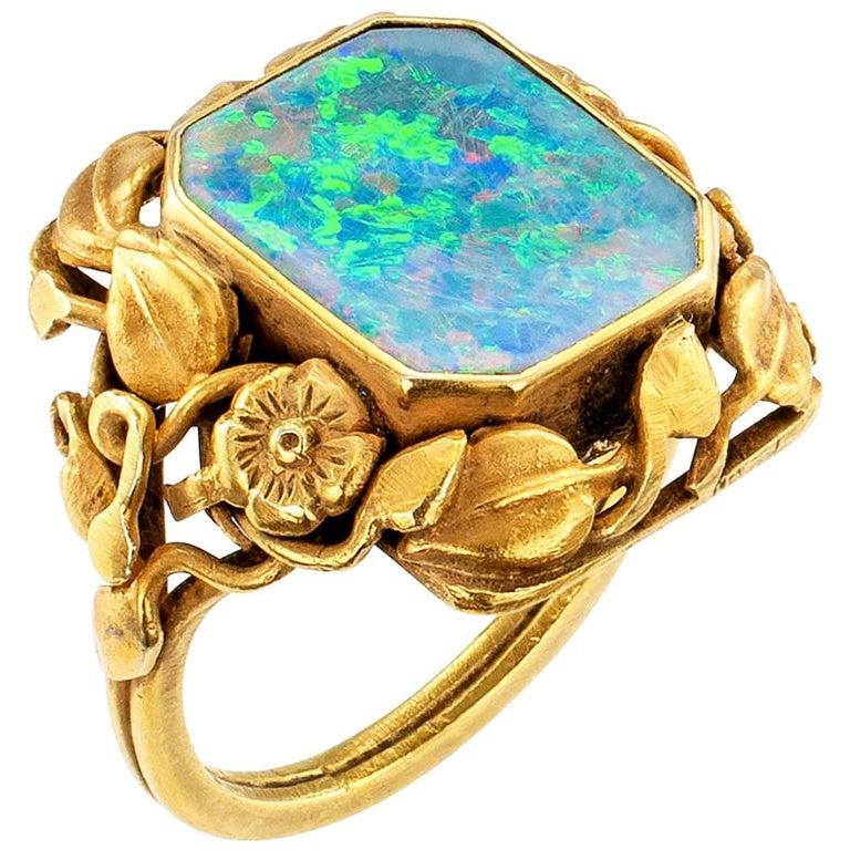 Arts & Crafts Black Opal Gold Ring For Sale