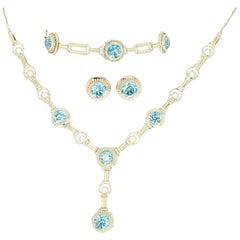 Arts & Crafts Blue Zircon Jewelry Set, 14 Karat Yellow Gold Vintage 16.84 Carat