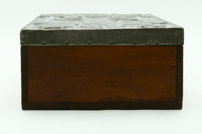 Sheet Metal Arts & Crafts Box with Decorative Metal Work, circa 1920 For Sale