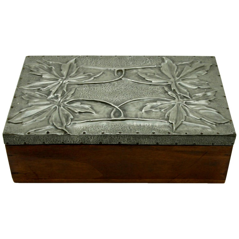 Arts & Crafts Box with Decorative Metal Work, circa 1920 For Sale