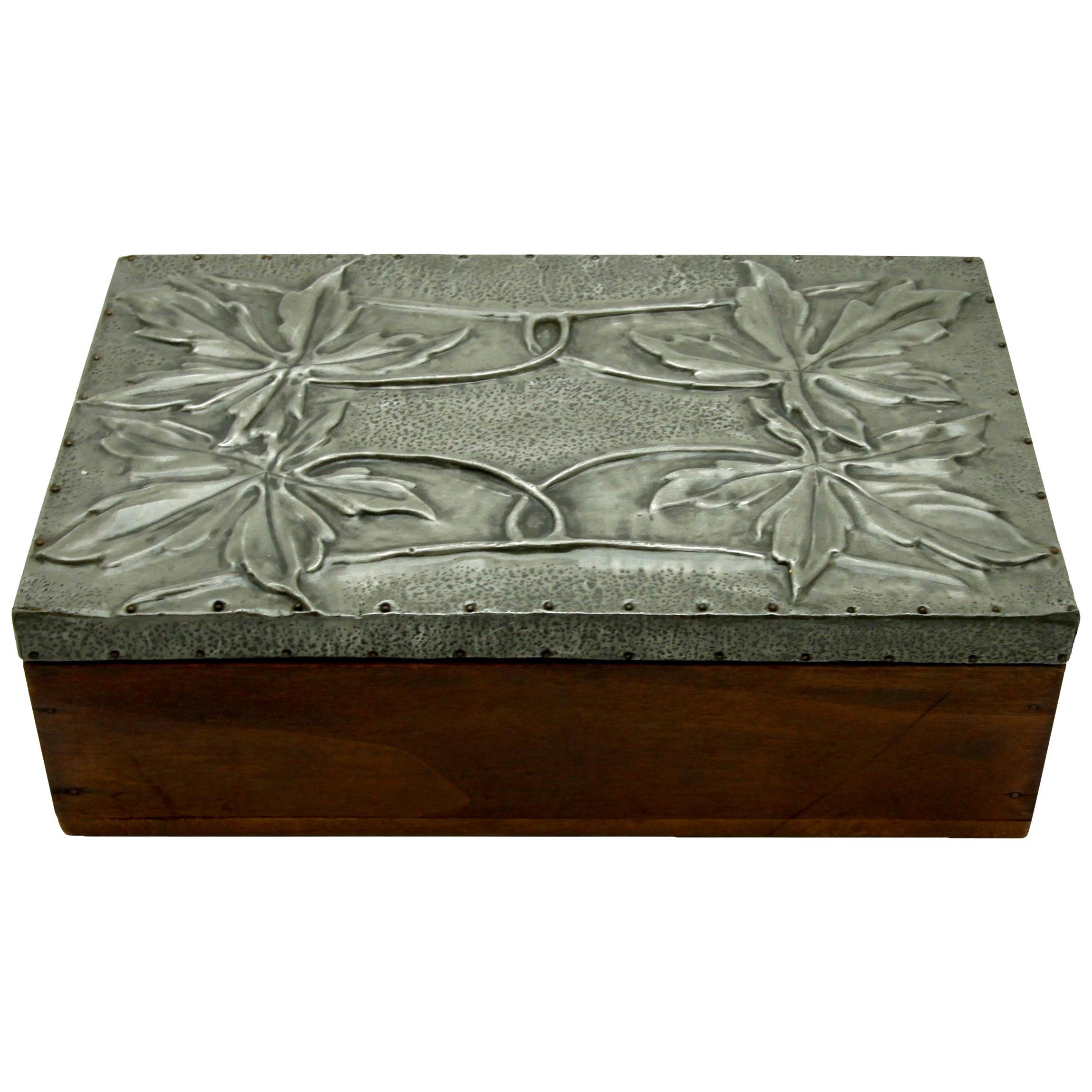 Arts & Crafts Box with Decorative Metal Work, circa 1920