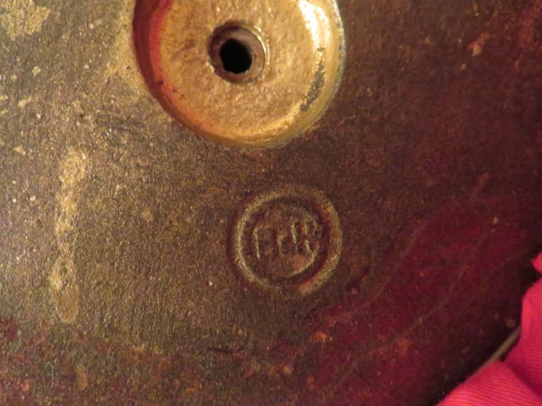 Arts & Crafts Bradley and Hubbard Brass Genie Slag Glass Lamp For Sale 7