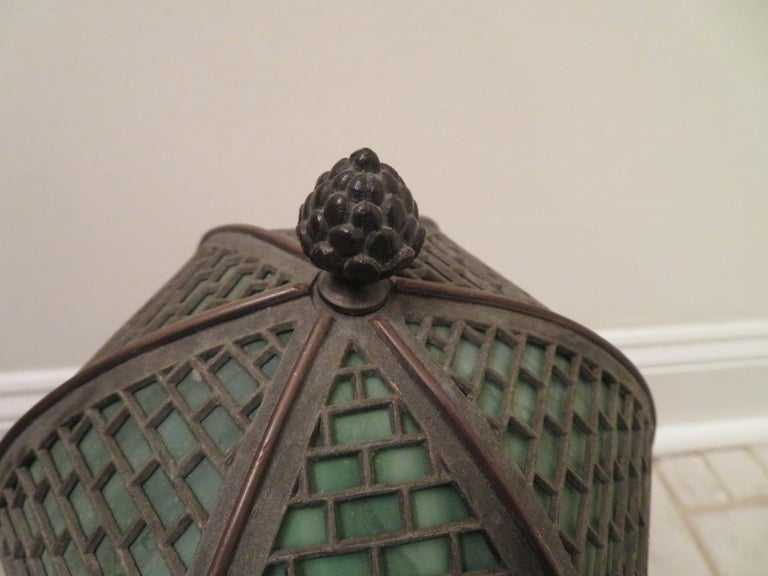Early 20th Century Arts & Crafts Bradley and Hubbard Brass Genie Slag Glass Lamp For Sale