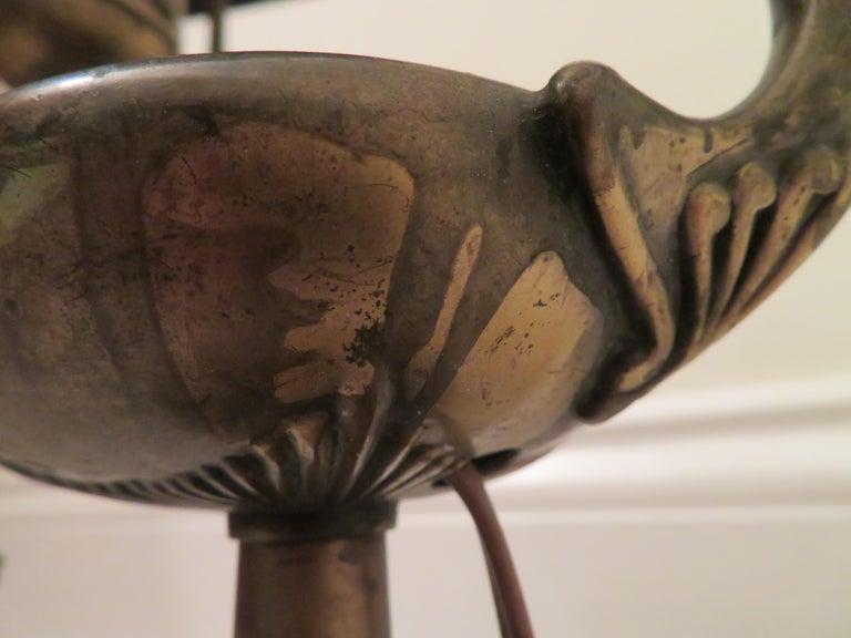 Arts & Crafts Bradley and Hubbard Brass Genie Slag Glass Lamp For Sale 3
