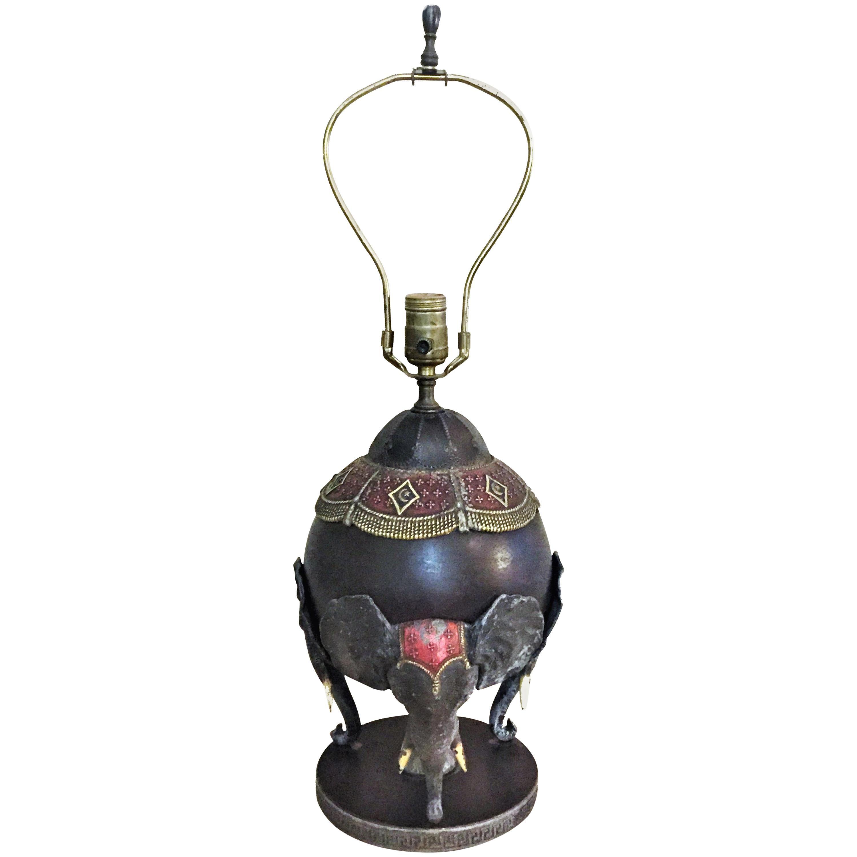 Arts & Crafts, Bradley & Hubbard Enameled Metal Elephant Table Lamp, circa 1910