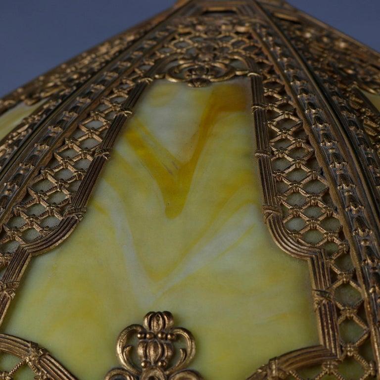 American Arts & Crafts Bradley & Hubbard School Gilt Metal Slag Glass Table Lamp