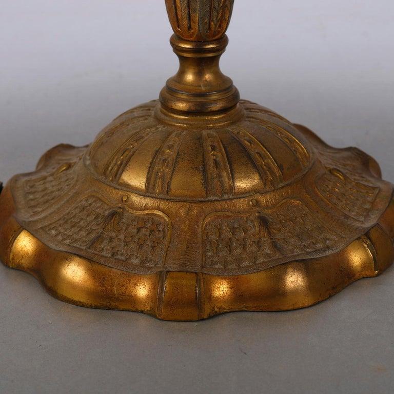 Arts & Crafts Bradley & Hubbard School Gilt Metal Slag Glass Table Lamp In Good Condition In Big Flats, NY