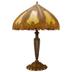 Arts & Crafts Bradley & Hubbard School Gilt Metal Slag Glass Table Lamp