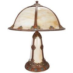 Arts & Crafts Bradley & Hubbard School Polychromed Slag Glass Table Lamp