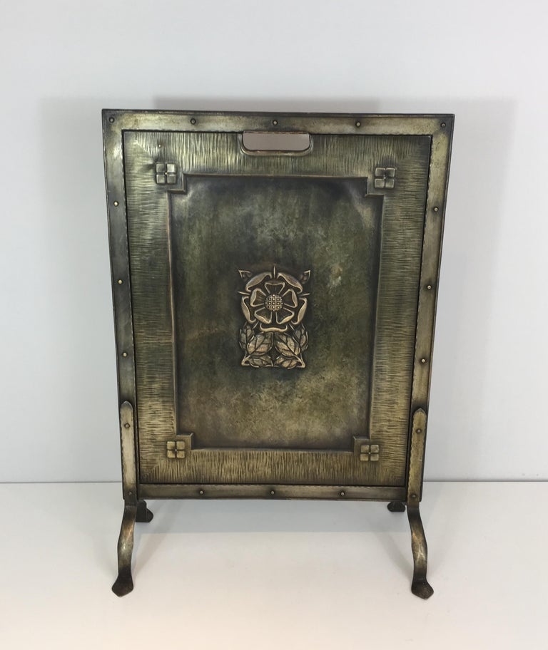 Arts & Crafts Brass and Iron Fire Place Screen, circa 1900 For Sale 6