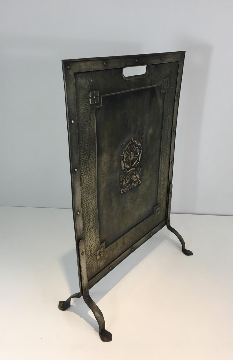 Arts & Crafts Brass and Iron Fire Place Screen, circa 1900 For Sale 7