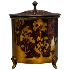 Arts & Crafts Brass and Wood Round Box by Erhard & Sohne Vienna, circa 1920s