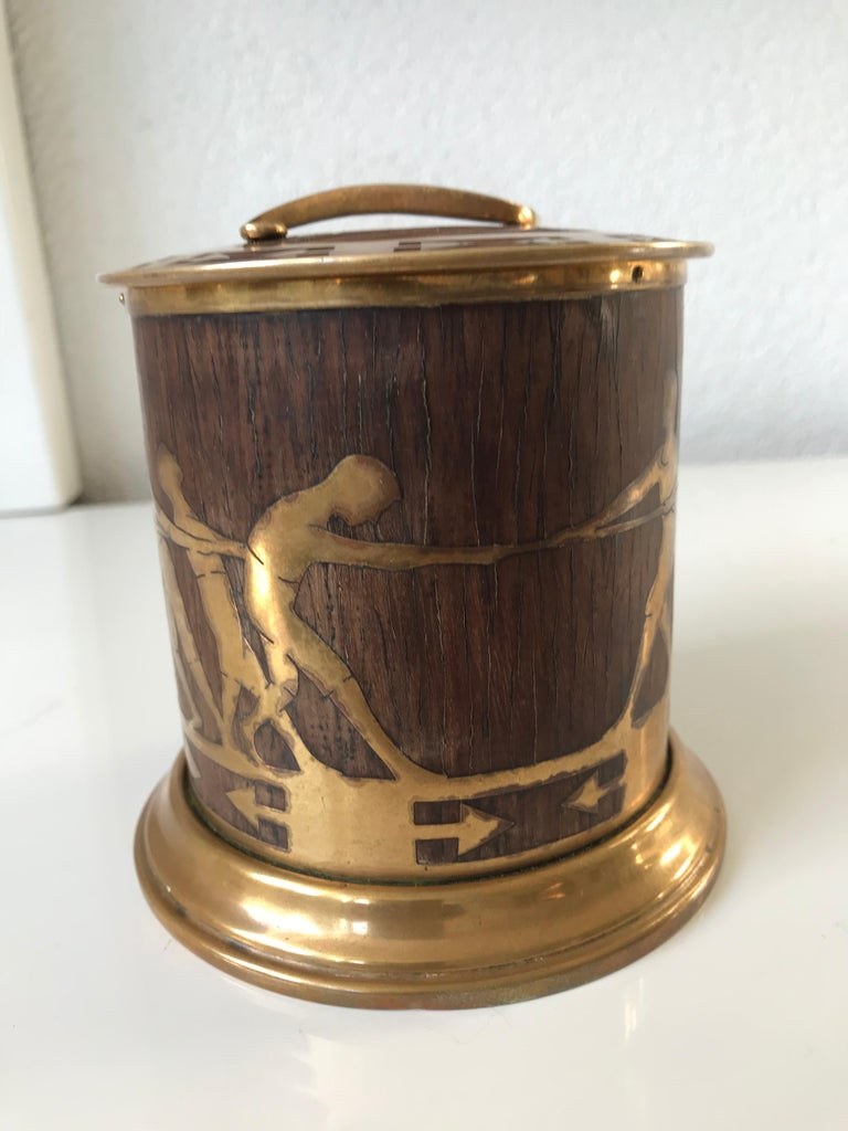 Austrian Arts & Crafts Brass and Wood Round Box by Erhard & Sohne, Vienna Secessionist For Sale