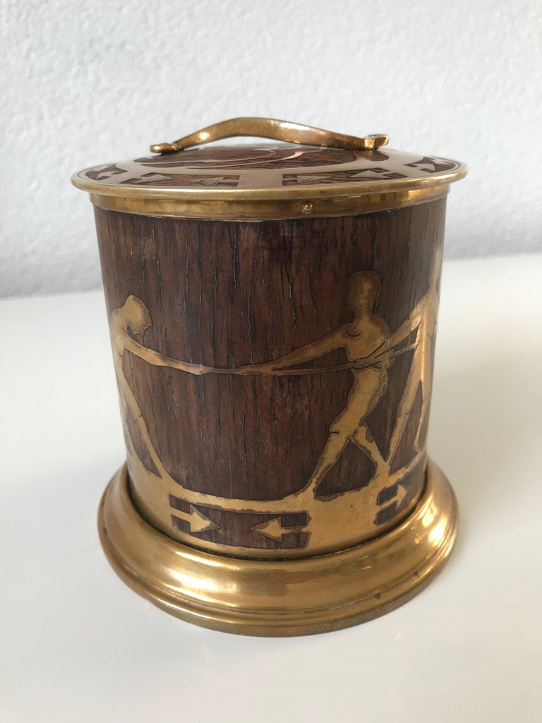 Hand-Crafted Arts & Crafts Brass and Wood Round Box by Erhard & Sohne, Vienna Secessionist For Sale