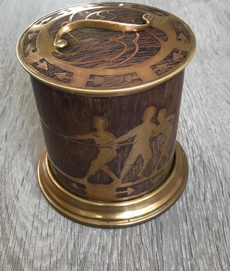 20th Century Arts & Crafts Brass and Wood Round Box by Erhard & Sohne, Vienna Secessionist For Sale