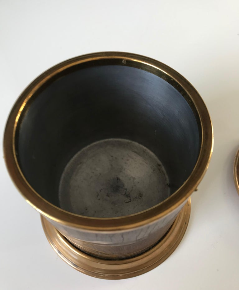 Arts & Crafts Brass and Wood Round Box by Erhard & Sohne, Vienna Secessionist For Sale 2