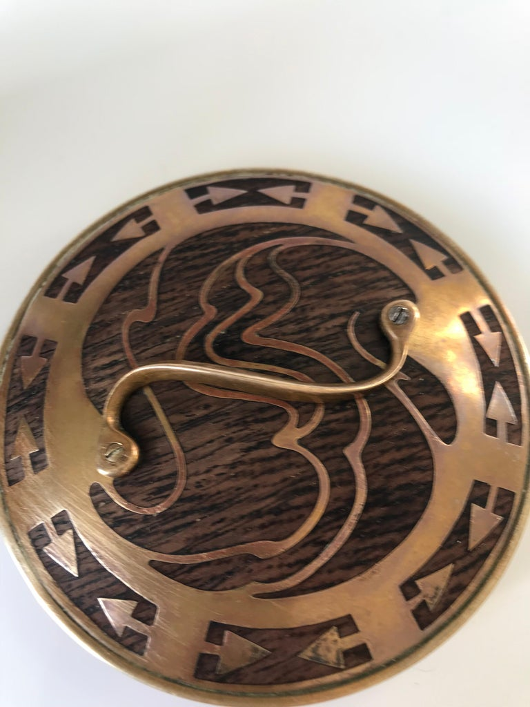 Arts & Crafts Brass and Wood Round Box by Erhard & Sohne, Vienna Secessionist For Sale 3