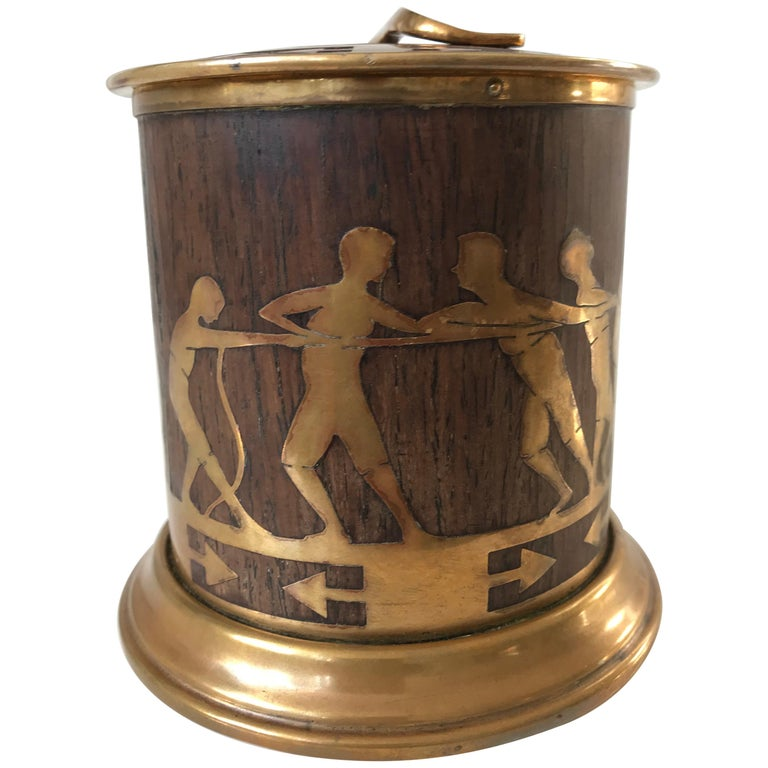 Arts & Crafts Brass and Wood Round Box by Erhard & Sohne, Vienna Secessionist For Sale