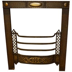 Arts & Crafts Brass Tooled Celtic Themed Fireplace Bungalow Mantle