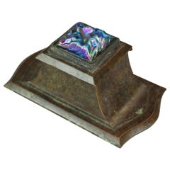 Arts & Crafts Bronze & Art Glass Inkwell after Tiffany, 20th C