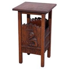 Arts & Crafts Carved Oak Tabouret Stand, Genre Scene, circa 1910