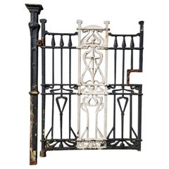 Arts & Crafts Cast Iron Gate with its Original Side Post All with Floral Details