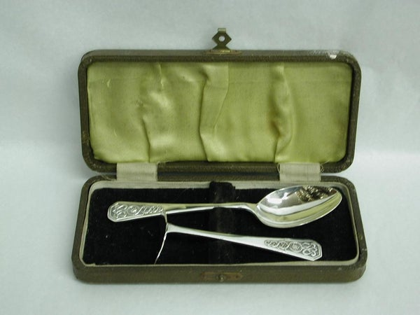 Arts & Crafts Celtic Design Silver Spoon and Pusher, Dated 1943, Henry Atkins