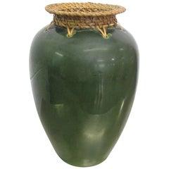 Arts & Crafts Ceramic and Rattan Vase