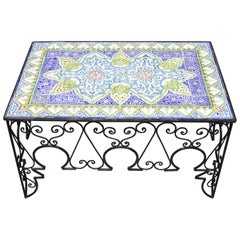 Arts & Crafts Ceramic California Tile Wrought Iron Coffee Table Attr. Catalina