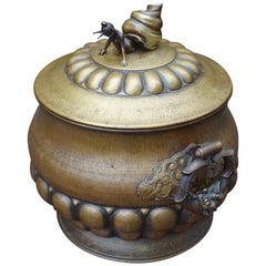 Arts & Crafts Coal Kettle / Fire Extinguisher with Bronze Lady Snail Sculpture