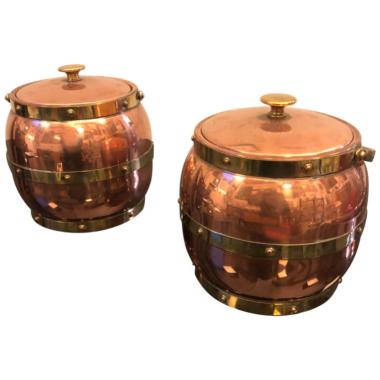 Arts & Crafts Copper and Brass British Ice Bucket, circa 1924 For Sale
