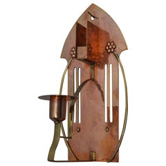 Arts & Crafts Copper & Brass Wall Sconce Candle and Match Box Holder by WMF