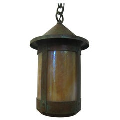 Arts & Crafts Copper Lanterns with Cream Slag Glass 4 Available