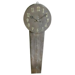 Arts & Crafts Copper Station Clock of Elongated Form with Brass Roman Numerals