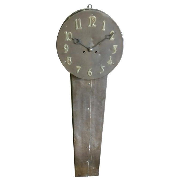 Arts And Crafts Copper Station Clock Of Elongated Form With Brass Roman Numerals For Sale At 1stdibs