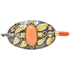 Arts & Crafts Coral 14 Karat Gold Sterling Silver Hair Pin Brooch