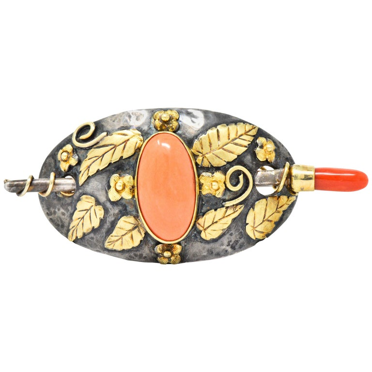 Arts & Crafts Coral 14 Karat Gold Sterling Silver Hair Pin Brooch For Sale