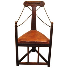 Arts & Crafts Corner Chair with Leather Turned Straps