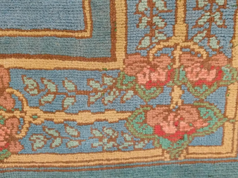 Arts & Crafts Donegal Light Blue Wool Rug Attributed to Gavin Morton, circa 1910 For Sale 3