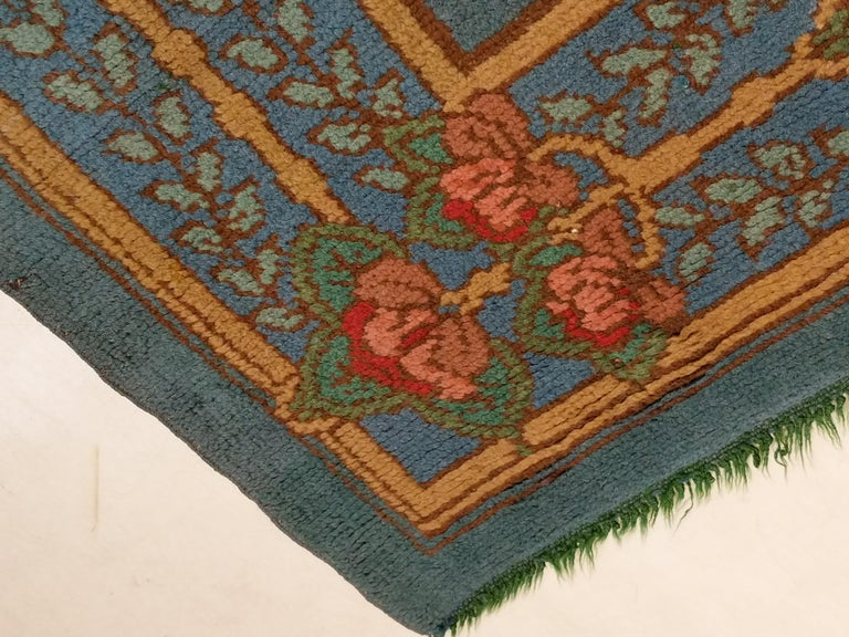 Arts & Crafts Donegal Light Blue Wool Rug Attributed to Gavin Morton, circa 1910 For Sale 4